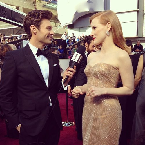 Ryan Seacrest chatted with best actress nominee Jessica Chastain on the red carpet at the Oscars. Source: Instagram user ryanseacrest
