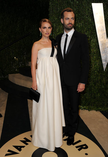Natalie Portman Wears White For an Oscars Night With Benjamin