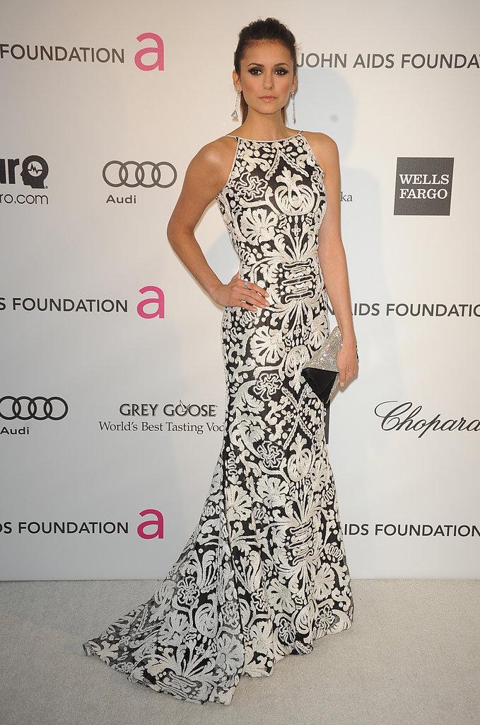 Nina Dobrev at Elton John's Oscar party.