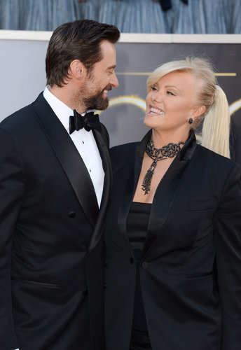 Hugh Jackman and Deborra-Lee Furness on the red carpet at the Oscars 2013.