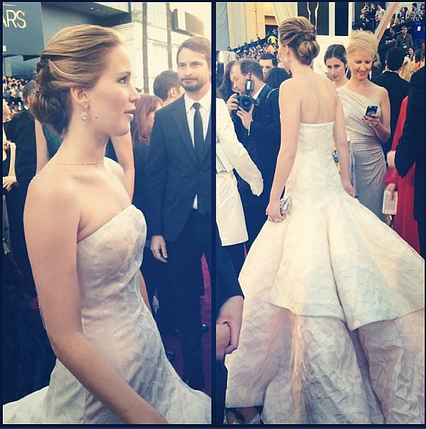 Jennifer Lawrence wore Dior Haute Couture. Source: Instagram user theacademy