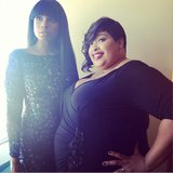 Jennifer Hudson in navy lace before the red carpet. Source: Instagram user theacademy