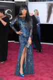 Jennifer Hudson showed off a sexy metallic Roberto Cavalli gown, then paired it with peep-toe pumps and a matching clutch.