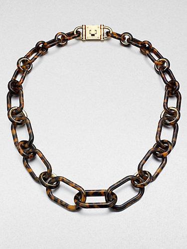Michael Kors Tortoise-Pattern Chain Link Necklace