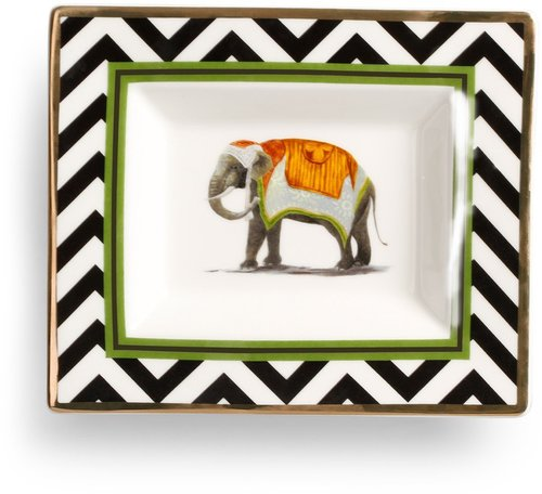 Black and White Elephant Plate