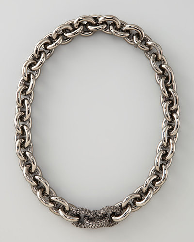 Eddie Borgo Pave-Link Cable Chain Necklace, Gunmetal