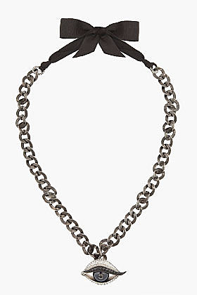 LANVIN black crystal and brass eye necklace