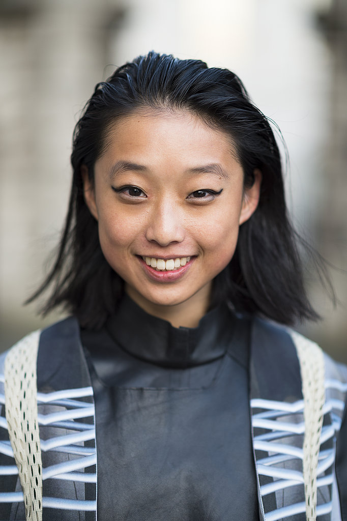 A slicked-back style and cat-eye liner looked cool, not corny, on Margaret Zhang. Source: Le 21ème | Adam Katz Sinding