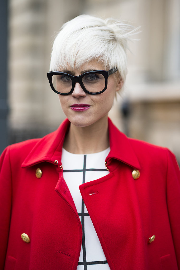 Linda Tol went for full-on mod with a frosty white pixie cut and Buddy Holly glasses. Source: Le 21ème | Adam Katz Sinding