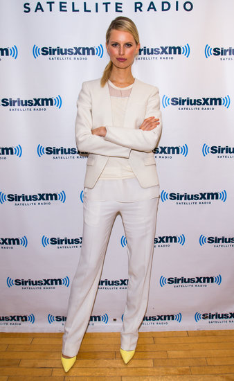 Karolina Kurkova's all-white ensemble got a jolt of yellow via her pointy pumps during a visit to the SiriusXM Studios in NYC.