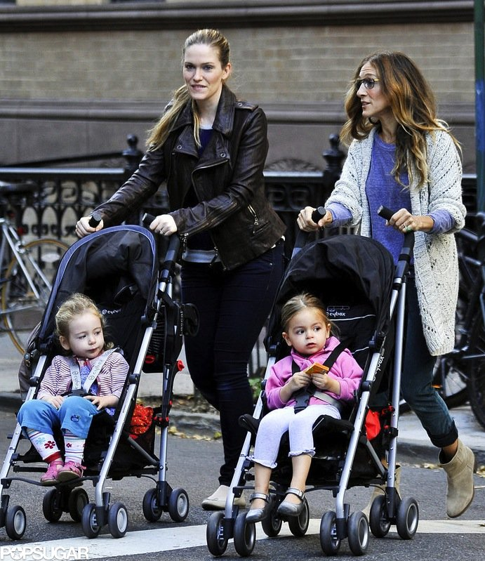 Sarah Jessica Parker and her nanny took the twins for a stroll in their matching Cybex strollers in October 2012. The girls kept cozy in light layers, while Mom sported an oversize crocheted sweater and suede ankle boots.