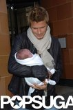 David Beckham carried newborn Cruz after lunch in London in February 2005.