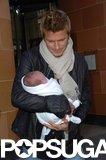 David Beckham carried newborn Cruz after lunch in London in February 2005.