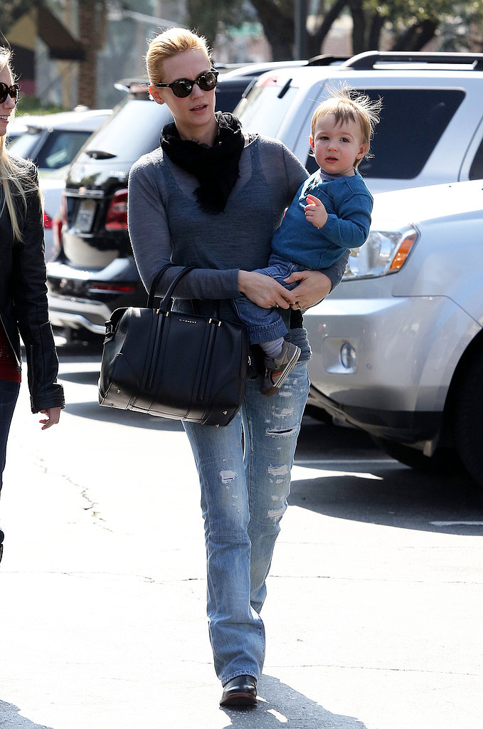 January Jones carried Xander to lunch with Diane Kruger.