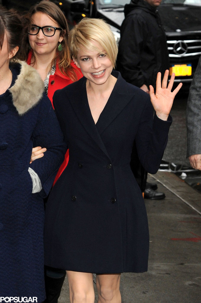 Michelle Williams waved in NYC.