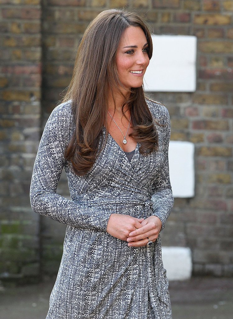 The dress allowed the expecting Duchess of Cambridge to cover up her expanding bustline and remain comfortable around her midsection.