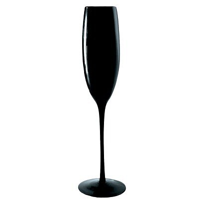 Top off the black-tie theme with tuxedo-inspired black Champagne flutes ($34).