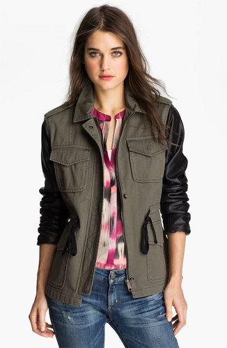 Sanctuary Faux Leather Sleeve Army Jacket