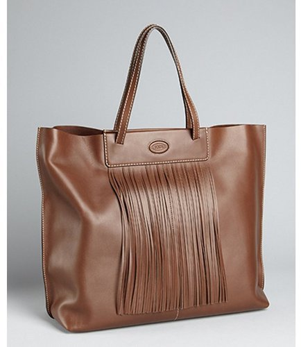 Tod's  cacao leather fringe detail large tote