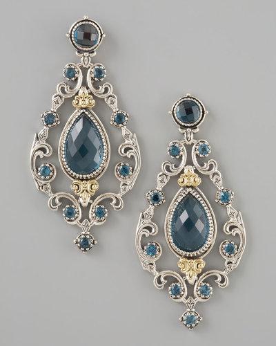 Konstantino London Blue Topaz Chandelier Post Back Earrings