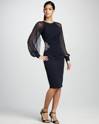 David Meister Sheer-Sleeve Cocktail Dress