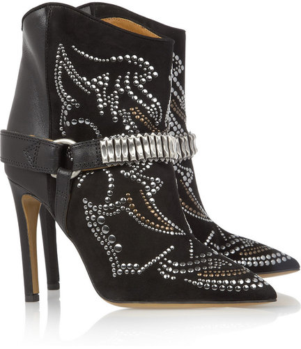 Isabel Marant Milwauke studded suede and leather ankle boots