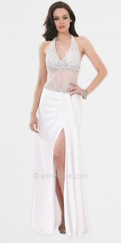 White Sheer Top Prom Dresses by Faviana
