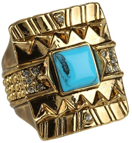 House of Harlow 1960 - Cushion Cocktail Ring with Turquoise Center Stone (14K Yellow Gold Plated) - Jewelry