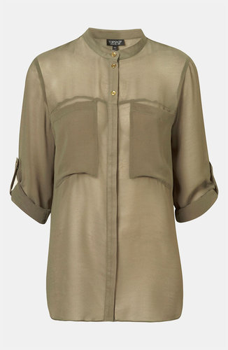 Topshop Slouch Pocket Sheer Shirt