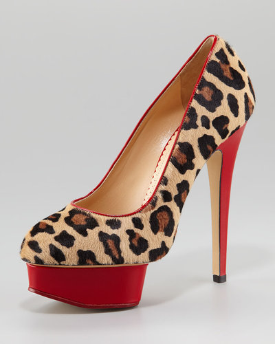 Charlotte Olympia Polly Leopard-Print Calf Hair Platform Pump