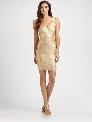 Herve Leger Metallic Bandage Dress