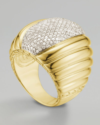 John Hardy Bedeg Diamond-Center Ring, Gold