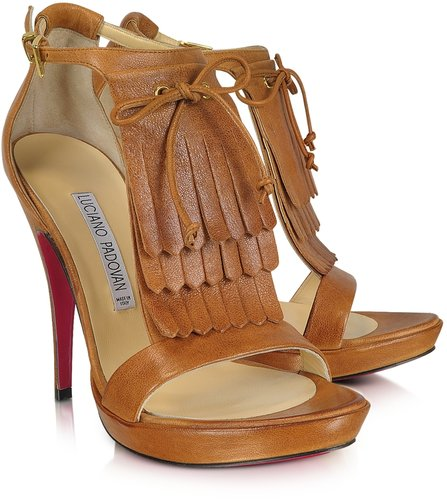 Luciano Padovan Brown Leather Fringed Sandal