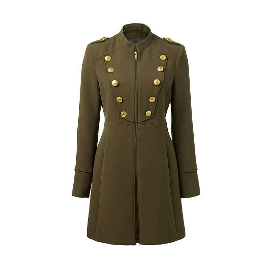 A classic, tailored wool coat with gold buttons will always command attention. Throw over jeans and boots and be ready for anything when the cold weather hits. Coat, $149.99, Forever New