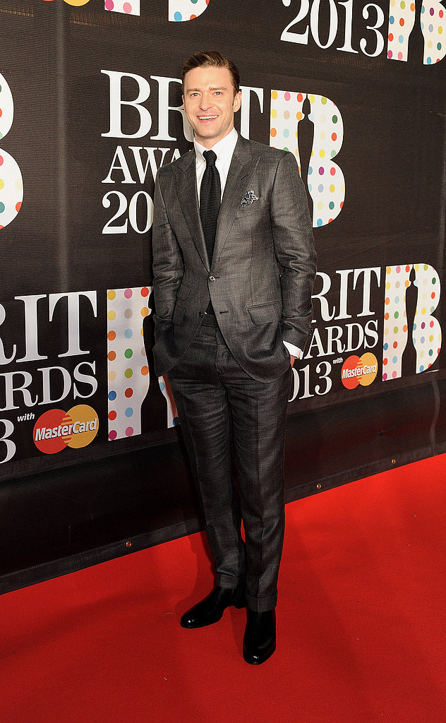 Justin Timberlake posed in a gray suit.