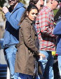 Mila Kunis had her hair pulled back while filming for The Angriest Man in Brooklyn.