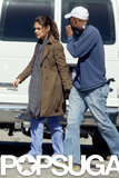 Mila Kunis talked to crew members while on set in LA on Wednesday.