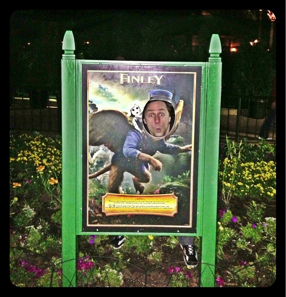 Oz the Great and Powerful's Zach Braff posed with a poster of his character at Disney World. Source: Twitter user zachbraff