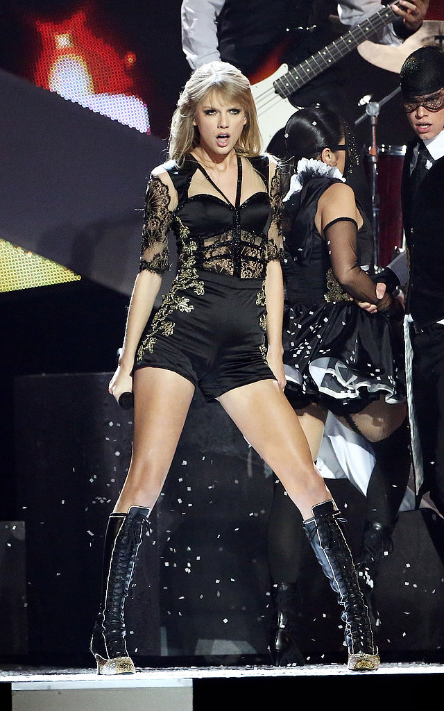 Taylor Swift donned a revealing ensemble to perform during the 2013 Brit Awards in Lodon.