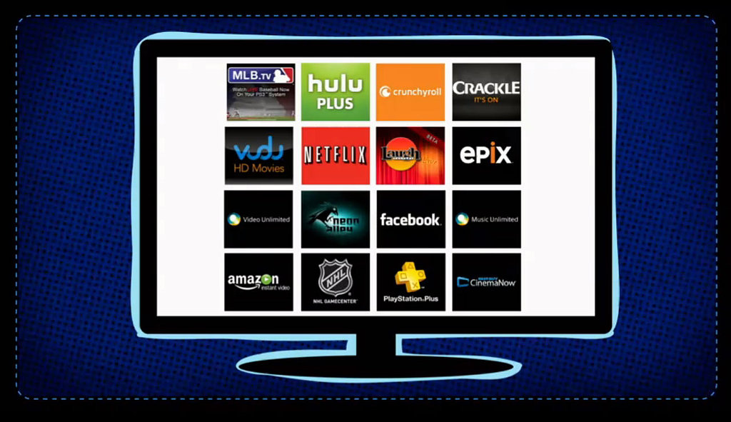 Cloud entertainment services like the ones seen here, including Hulu Plus, Netflix, and MLB.tv, will roll out throughout the year, though Sony is mum on exact timing.  —Additional reporting by Nicole Nguyen