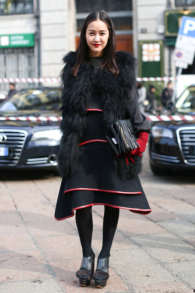 A fashion-forward skirt and a furry vest added up to a whimsical take on black.