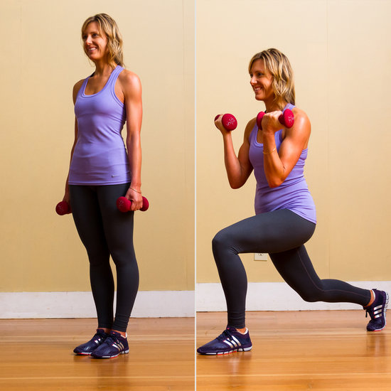 Circuit Two: Backward Lunge With Bicep Curls