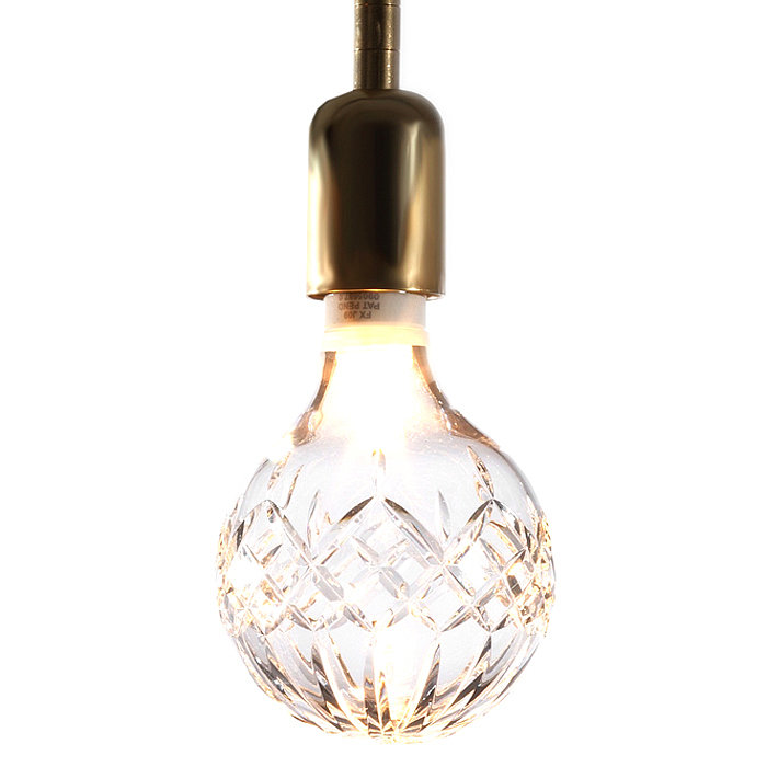 True, this is more about the beautifully etched crystal bulb ($175) than the brass fitting, but we can't imagine any other metal doing it justice.