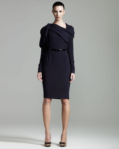 Lanvin Draped Long-Sleeve Dress