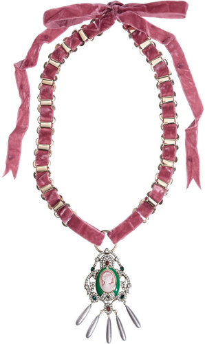 Mawi Velvet and crystal cameo necklace