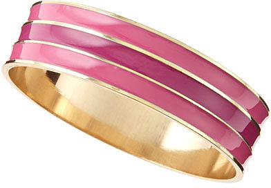 Lydell NYC Large Striped Enamel Bangle, Pink