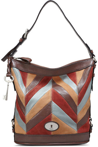 Fossil Handbag, Maddox Leather Patchwork Bucket Bag