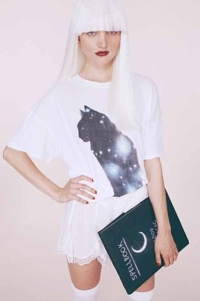 Wildfox Couture Galaxy Cat Donovan Tee in Clean White