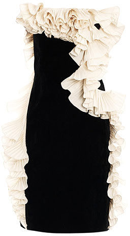 Lanvin Velvet ruffled strapless dress