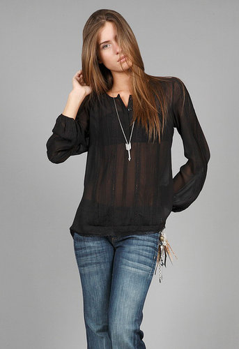 Romantic Blouse in Black - by Gold Hawk